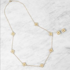 Jewelry - Faux Pearl Necklace with Earrings set - gold BNWT